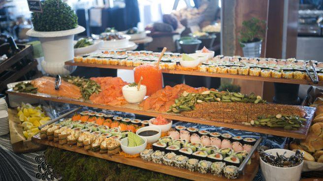Salmon, Sashimi and Sushi Display